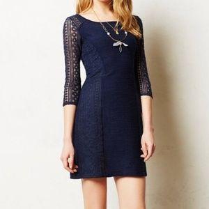 Anthropologie Bordeaux Lace Frost Navy Dress Sz XS